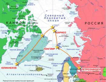 Схема маршрута экспедиции Фёдора Конюхова и Виктора Симонова. Фото: с сайта ru.wikipedia.org