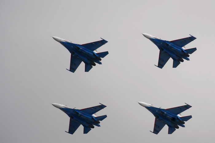 «Русские витязи» отметили 20-ю годовщину своего существования. Фото: DMITRY KOSTYUKOV/AFP/Getty Images