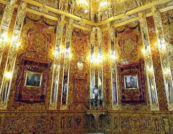 Фрагмент Янтарной комнаты в Екатерининском дворце. Фото: INTERPRESS/AFP/Getty Images