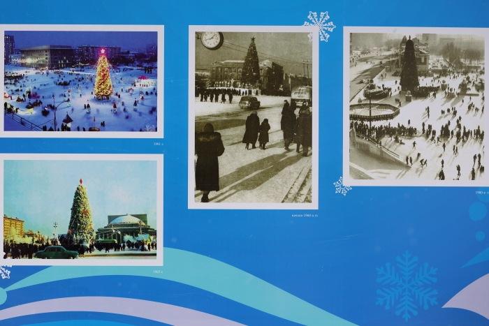 Открытие главной ёлки в Новосибирске. Стенды с архивными фото главной ёлки. Фото: Сергей Кузьмин/Великая Эпоха (The Epoch Times)