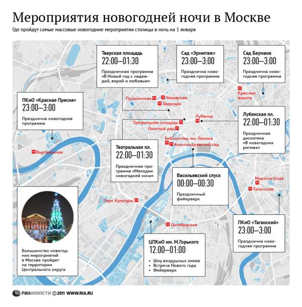 Мероприятия новогодней ночи в Москве