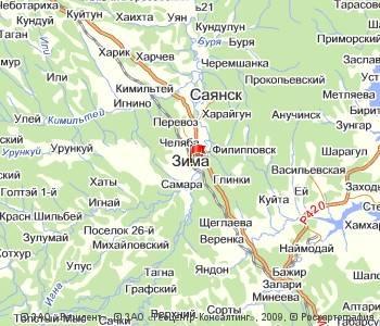 В городе Зима Иркутской области произошла перестрелка. Фото: maps.yandex.ru