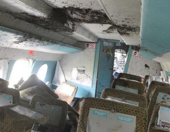 Ан-24 в Благовещенске при жесткой посадке потерял левое крыло и шасси. Фото с сайта amur.info