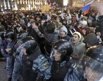 Протесты против итогов выборов в России сопровождаются арестами. Фото: focus.de