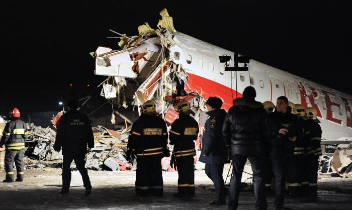 Фоторепортаж о крушении Ту-204 в аэропорту Внуково. Фото: ANDREY SMIRNOV/AFP/Getty Images