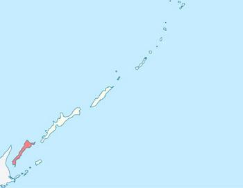 Остров Кунашир на схеме Курильских островов. Фото: Andrey Isakov/commons.wikimedia.org