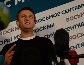 Алексей Навальный на пресс-конференции штаба 8 сентября 2013 года. Фото: VASILY MAXIMOV/AFP/Getty Images