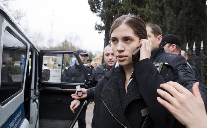 Надежда Толоконникова была  задержана полицией 18 февраля по подозрению в краже в гостинице. Фото: EVGENY FELDMAN/AFP/Getty Images