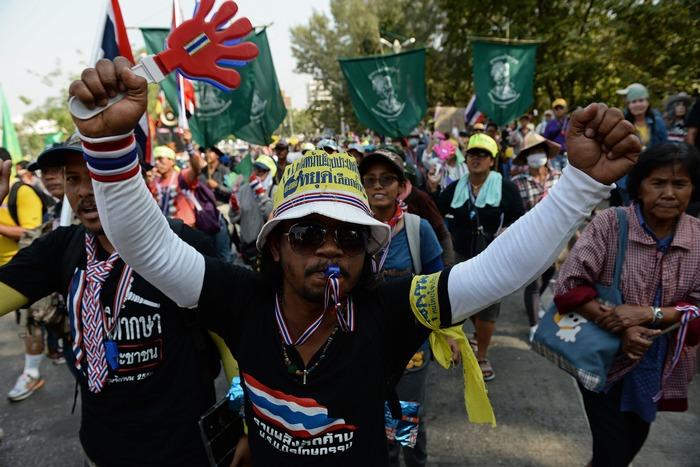 Антиправительственная демонстрация в Бангкоке 9 января 2014 года. Фото: CHRISTOPHE ARCHAMBAULT/AFP/Getty Images