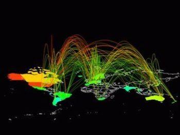 Маршруты мирового интернет-трафика. Иллюстрация с nd.edu