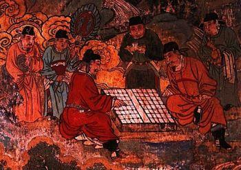 Китайские мужчины увлеченно играют в «Сянци», древнюю игру в шахматы, что изображено на фреске храма. Фото: Zhongguo Meishu Quanji