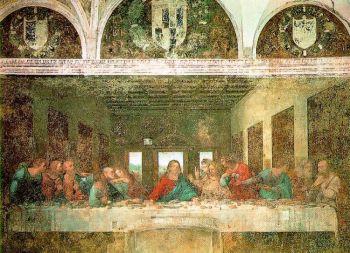 Фреска Леонардо на стене трапезной монастыря Санта-Мария делле Грацие, Милан, описывает тему Тайной Вечери Иисуса с учениками. (Artrenewal.org)