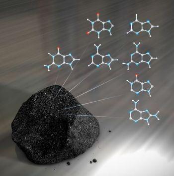 Метеориты содержат большое разнообразие нуклеотидов, ключевых компонентов молекул ДНК. (NASAs Goddard Space Flight Center/Chris Smith)