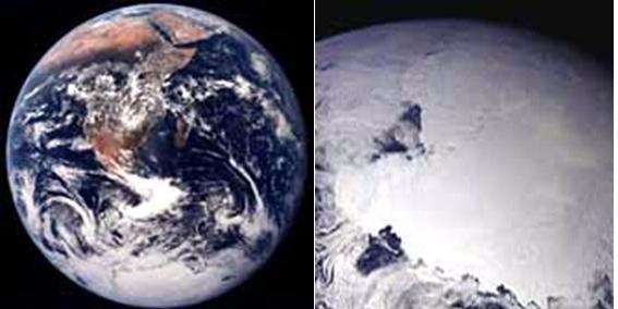 Рис 1.3. Африка (фото слева). Рис 1.4. Антарктида (фото справа). Фото: NASA
