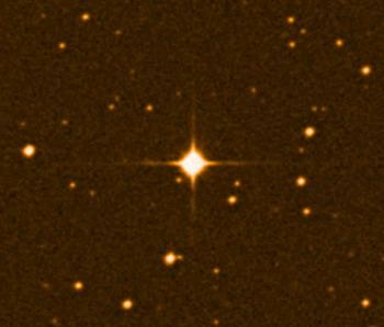 Звезда Gliese 581 удалена всего на 20,5 световых лет от нас (фото Digital Sky Survey).