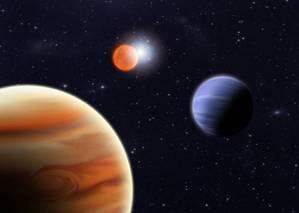 Художественное изображение обеих планет с двумя очень разными солнцами в центре. Иллюстрация: Stuart Littlefair