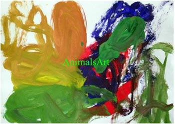 Так рисуют шимпанзе. ФОТО: ANIMALS.ART