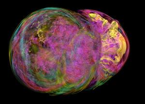 Пульсар представляет собой нейтронную звезду, которая быстро вращается, посылая радиоизлучение. Поляризация импульсов может меняться, если в процессе путешествия сквозь межзвёздную среду сигналы проходят, например, через магнитное поле, сталкиваются со свободными электронами или, как в данном случае, проходят через газовое облако (иллюстрация Nature).