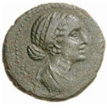 Римская монета с изображением Клеопатры. Фото с сайта mixei.ru