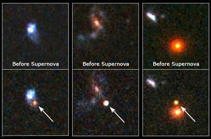 Фотография космического телескопа Хаббл - три самые отдалённые из известных сверхновых звезд. Отслеживая взрывы звезд, астрономы могут рассчитать скорость расширения вселенной, и определить, как влияет на это тёмная энергия. (NASA – STScI).