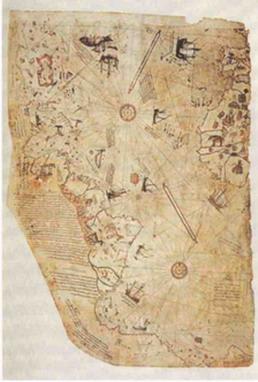 Карта 16-ого столетия, сделанная Адмиралом Пири Рей, турецким морским командующим. Он соединил много древних карт. Она очень близка к современным спутниковым фотографиям.