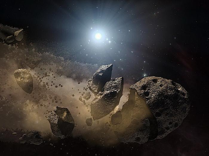 Художественное изображение взорванного астероида. Фото: NASA/JPL-Caltech