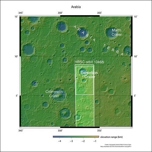 Марсианский кратер показывает периодические изменения климата. Фотографии. Фото:  Фото:  NASA MGS MOLA Science Team