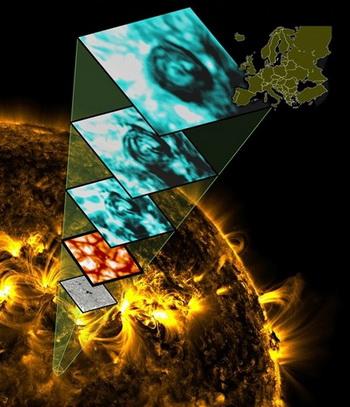 Диаметр такого вихря на поверхности Солнца может соответствовать площади Европы, как показывает этот рисунок. Фото НАСА
