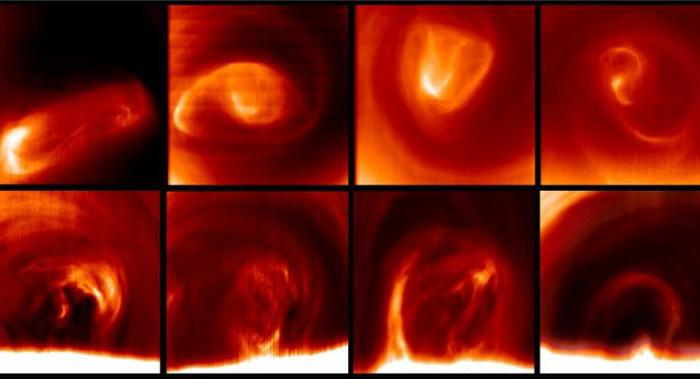 Каждый день вихрь на южном полюсе Венеры изменяет форму. Верхнее изображение показывает форму самых высоких облаков, находящихся на высоте 65 километров. Нижнее изображение показывает форму вихря на высоте ниже 20 километров и его изменение в динамике. Фото: Grupo de Ciencias Planetarias
