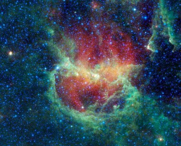 Космические подарки к Новому году от телескопа WISE. Туманность Бегущий Цыпленок, находится в созвездии Центавра, удалено от Земли на 5,8 тысячи световых лет. В этой туманности образуются кольцевые структуры (центр снимка). Фото с сайта Space.com