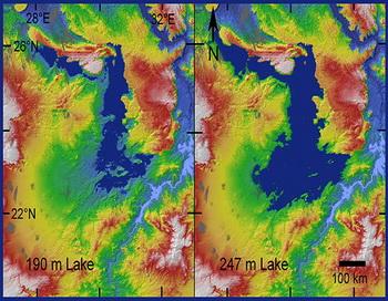 На топографической карте красным указаны возвышенности, синим — глубины. На правом снимке видно, что бассейн озера опустился. Это привело к сокращению притока воды из Нила и впоследствии к пересыханию озера. Фото с сайта: computerra.ru