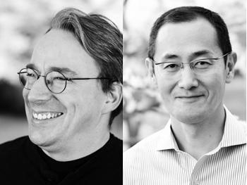 Лауреаты Millennium Technology Prize 2012 Линус Торвальдс (слева) и профессор Синъя Яманака (справа). Фото: technologyacademy.fi