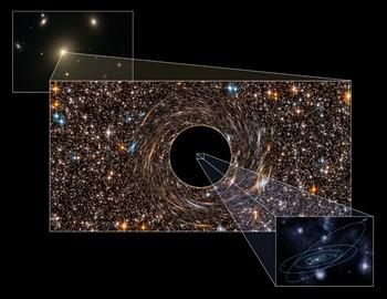 Астрономы обнаружили две черные дыры массивнее всех известных объектов такого рода, их масса в десять миллиардов раз превышает наше Солнце. Фото с infuture.ru