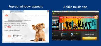 Скриншоты опасных вэб-страниц, выполненные в привычном виде, типичном для законных Интернет-сайтов. Производится выманивание конфиденциальной информации и предложение установки вредоносных программ под видом антивируса (Материалы компании PC Tools)
