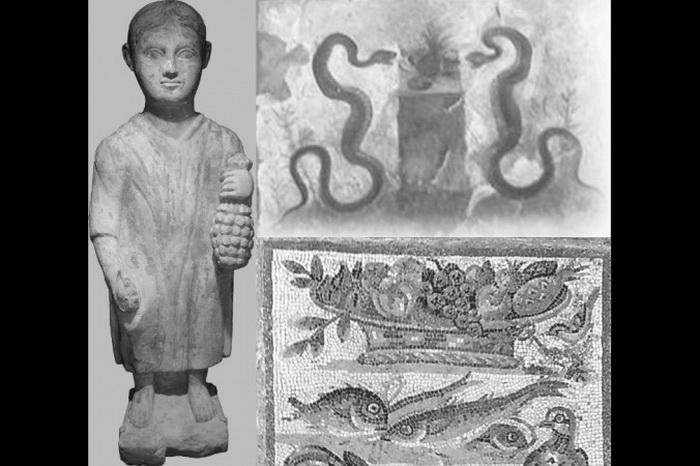 Три изображения ананасов римской эпохи. Статуя третьего века нашей эры находится теперь в Musйe dArt et dHistoire (Музее истории искусств) Женевы. Вверху справа — фреска из Casa dellEfebo в Помпеях, внизу справа — мозаика, относящаяся к эпохе Августа, находящаяся теперь во дворце «Массимо» Национального музея Рима. Фото: Lucio Russo