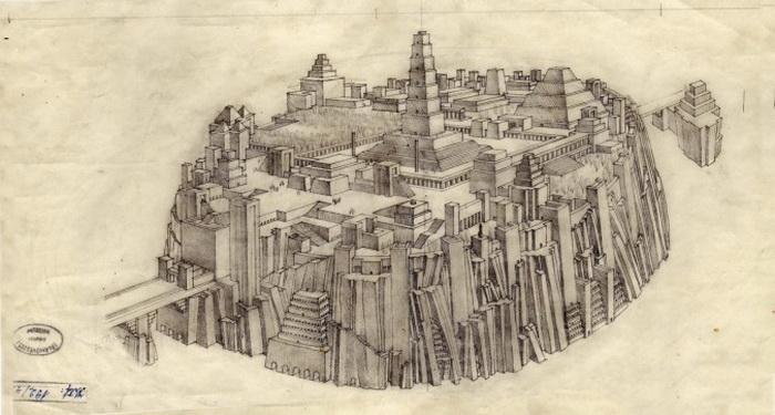 Затонувший город Атлантида. Рисунок архитектора Гезы Мароти, 20-е годы XX века. Фото: Jбnos Gerle/WikimediaCommons.com