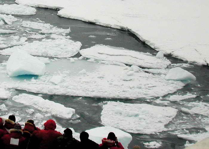 Российский теплоход «Адмирал Макаров» следует в Северном Ледовитом океане на помощь французскому катамарану «Бабушка», зажатому во льдах. Фото: JOSH LANDIS/AFP/Getty Images