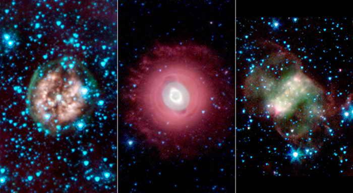 На этих трёх снимках, выполненных космическим телескопом НАСА «Спитцер», зафиксированы планетарные туманности — газовые останки умирающих звёзд. Фото: NASA/JPL-Caltech/Harvard-Smithsonian CfA