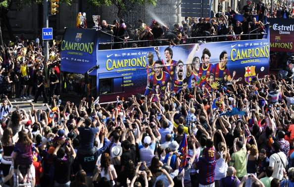 В Барселоне встретили победителей лиги Чемпионов, Фоторепортаж из Испании. Фото: David Ramos/Getty Images