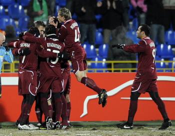 Казанский «Рубин» выиграл ЦСКА в матче за Суперкубок. Фото: Natalia KOLESNIKOVA/AFP/Getty Images