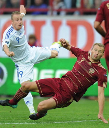 Евро 2012: отборочный матч Россия- Словакия. Фото: ALEXANDER NEMENOV/AFP/Getty Images
