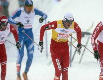 Российские лыжники заняли весь пьедестал в рамках восьмого этапа Кубка мира. Фото: AFP/Getty Images