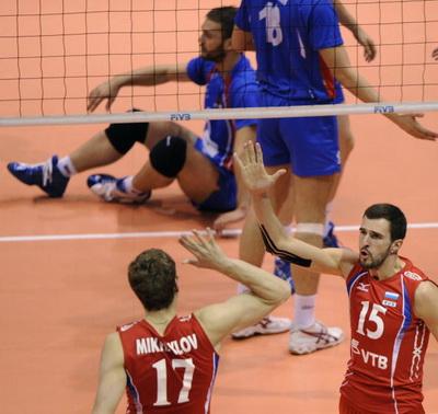 Волейбол: Сборная России вышла в финал Мировой лиги.  Фото: Juan MABROMATA/AFP/Getty Images