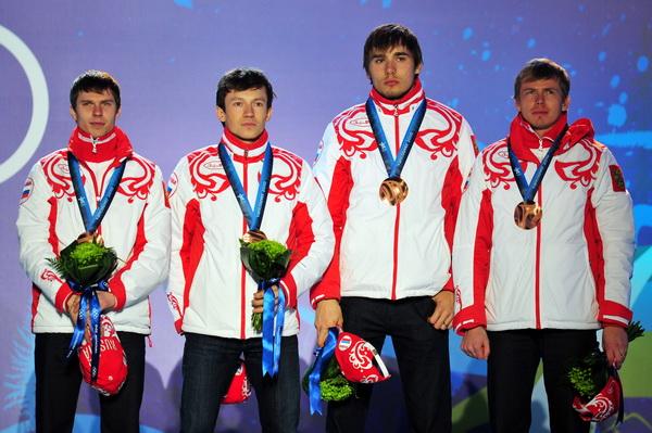 Мужская сборная России по биатлону завоевала бронзу в эстафете. Фото: Clive MASON/Getty Images