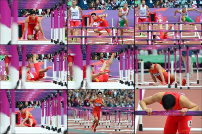 Китайский атлет Лю Сян в момент падения во время забега на 110 м с барьерами на Олимпийских играх в Лондоне 7 августа 2012 г. Фото: AFP/Getty Images