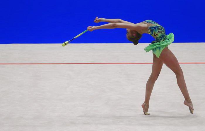 Маргарита Мамун на Чемпионате Европы по художественной гимнастике в Вене. Фото: ALEXANDER KLEIN/AFP/Getty Images