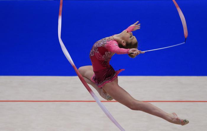 Мария Матева из Болгарии на Чемпионате Европы в командном зачёте. Фото: ALEXANDER KLEIN/AFP/Getty Images