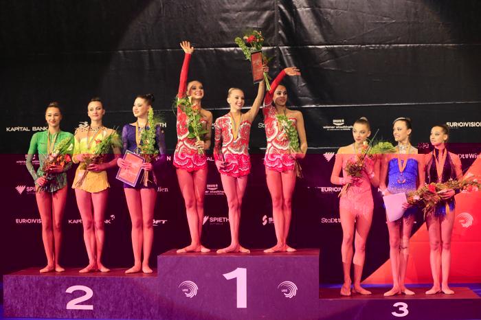 Российские гимнастки победили на Чемпионате Европы в командном зачёте. Фото: ALEXANDER KLEIN/AFP/Getty Images