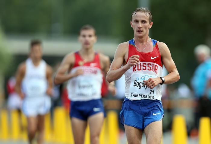 Пётр Богатырёв первый финишировал на дистанции 20 километров Чемпионата Европы среди молодёжи 10 июля 2013 года в Тампере. Фото: Ian MacNicol/Getty Images