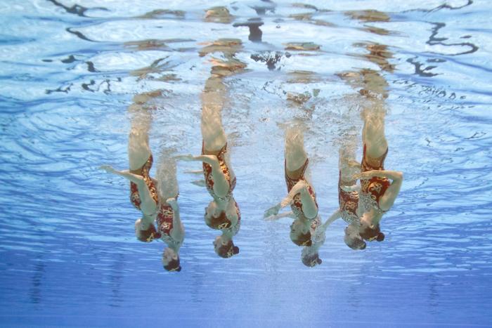 Синхронистки принесли России третье золото Чемпионата мира по водным видам спорта 22 июля 2013 года в испанской Барселоне. Фото: FRANCOIS XAVIER MARIT/AFP/Getty Images